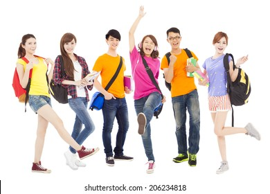 happy young students standing together with white background