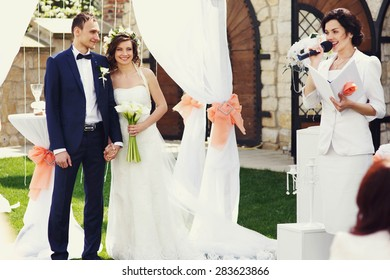 happy young stylish couple is celebrating their wedding