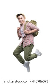 Happy young traveling man jumping isolated on white.