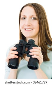 Happy young woman with binocula looking to camera