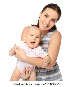 Happy young woman with cute baby on white background