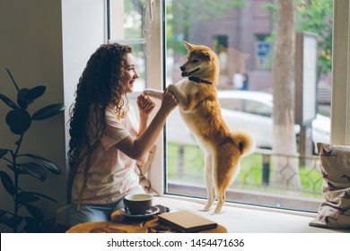 Happy young woman is dancing with pet dog sitting on window sill in cafe having fun enjoying music and animal. Modern lifestyle, people and youth concept.