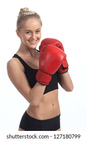 Happy young woman is engaged in boxing on a white background