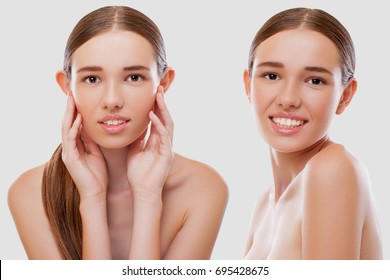 Happy young Woman Face with Beauty Treatment. Excellent result. Isolated on white Background. Model Before and After. Plastic Surgery for a young Girl, eliminating the  Defect of the Ears