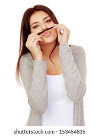 Happy young woman with hair mustache isolated on white