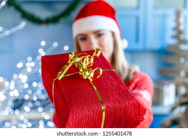 happy young woman for her gift in christmas day at home