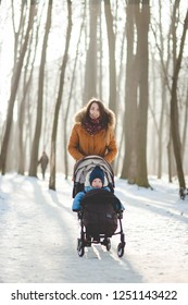 Happy young woman with her son in the stroller walking in the park on beautiful winter day.