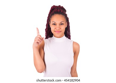 Happy Young Woman Isolated Presenting On White Background