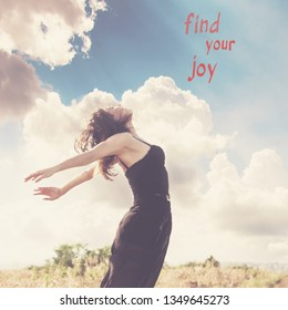 happy young  woman in jump at summer field with quote find your joy