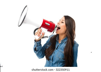 happy young woman with megaphone