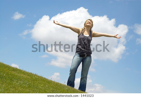 happy young woman on a sunny day