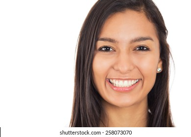 Happy young woman with perfect smile isolated on white background