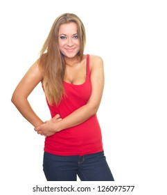 Happy young woman in a red shirt. Isolated on white background