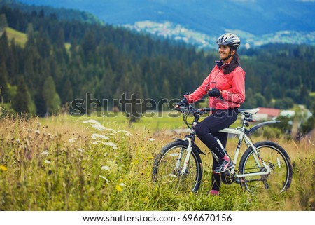 Happy Young Woman Riding Mountain Bicycle Stock Photo Edit