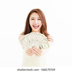 happy young  woman showing the money