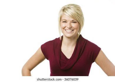 Happy young woman smiling over white background
