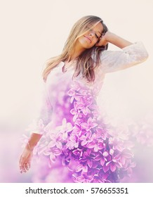Happy young woman in the spring. Double exposure.