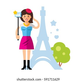 Happy young woman taking a selfie with mobile phone in Paris, France. Flat style colorful Cartoon illustration.
