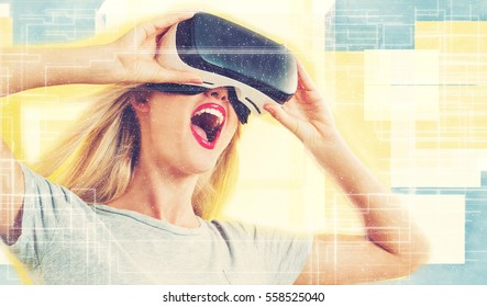 Happy young woman using a virtual reality headset concept