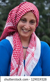 happy young woman wearing scarf