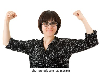 happy young woman winning, isolated on white