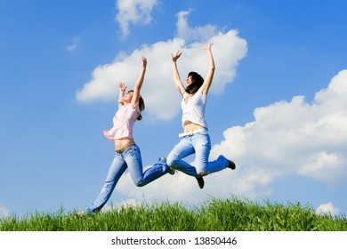 happy young women is jumping