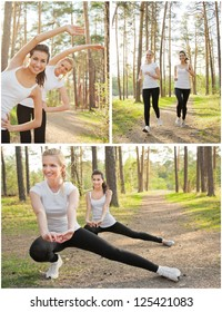 Happy young women training outdoor. Healthy lifestyle concept