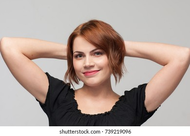 Happy youth. Confidence in life. Be positive everyday, joyful female portrait. Beauty look on grey background. Happiness leadership easy solution concept