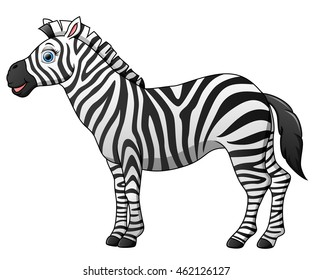 Happy zebra cartoon isolated on white background