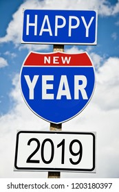 Hapy New Year 2019 written on american roadsign