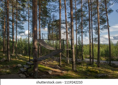 HARADS, SWEDEN - 29 JULY 2017 : The Mirrorcube a modern treehouse in the woods, Harads, Sweden