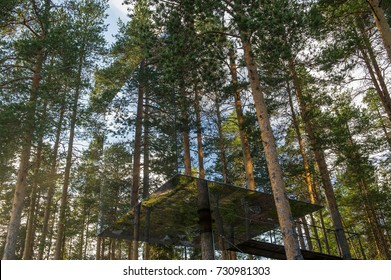 HARADS, SWEDEN - 29 JULY 2017 : The Mirrorcube a modern treehouse , Harads, Sweden