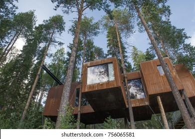 HARADS, SWEDEN - 29 JULY 2017 : The Dragonfly a modern treehouse sitting high up in the trees