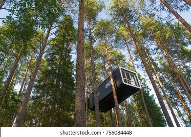 HARADS, SWEDEN - 29 JULY 2017 : The Cabin a modern treehouse in the woods , Harads, Sweden