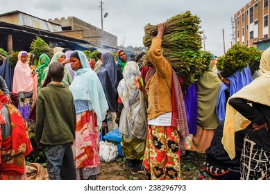 HARAR, ETHIOPIA - AUG 6: Asma'addin Bari market (New Market), also known as the Christian market, on August 6, 2007 in Harar, Ethiopia.