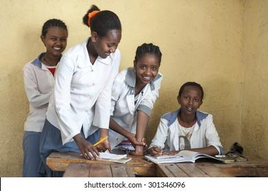 HARAR - ETHIOPIA - DECEMBER 25, 2012  Unidentified young muslim girls in Elementary school, Harar, Ethiopia, Africa