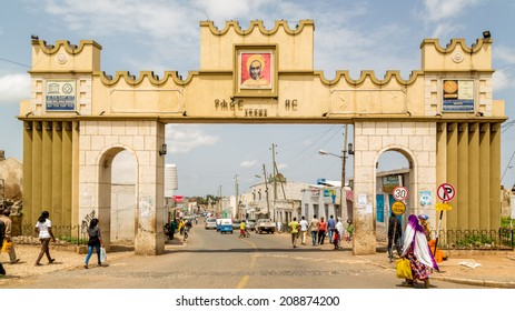 HARAR, ETHIOPIA - JULY 26,2014 - Harar Gate or Duke's Gate is one of the entrances to Jugol, the fortified historic walled city included in the World Heritage List by UNESCO.