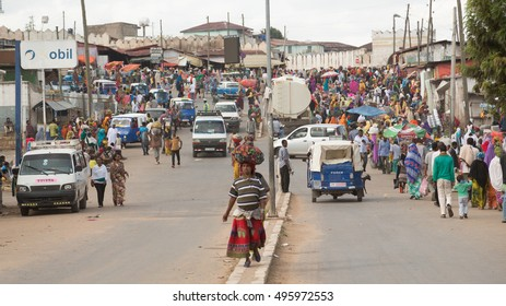HARAR, ETHIOPIA - JULY 27,2014 - Local residents of Harar,considered as the fourth holy city of Islam, shopping in the street markets near the famous Shoa gate area.