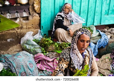 HARAR, ETHIOPIA - JUNE 3, 2017 : Merchants sell Khat, an addictive stimulant, at Asma'addin Bari Market, Harar, Ethiopia