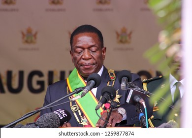 Harare - December 17, 2017: President Emmerson Mnangagwa delivers his inaugural speech soon after the inauguration ceremony at National Sports Stadium in Harare, Zimbabwe
