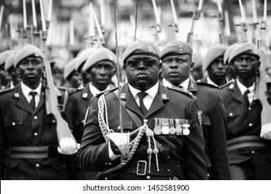 Harare, Zimbabwe - November 24 2017: Commanding Officer 1 Presidential Guard Infantry Battalion, Lieutenant Colonel Samson Murombo leads his battalion at a pass out a parade