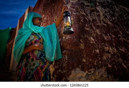 Harar/Ethiopia - 12 16 2018: People in Harar city of peace