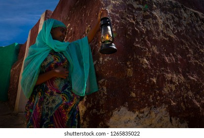 Harar/Ethiopia - 12012018:  Woman walking on the street in Harar