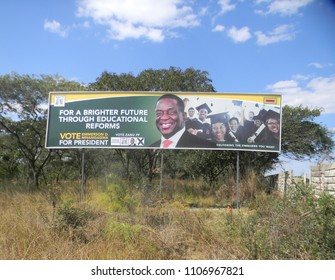 Harare,Zimbabwe,02 June 2018.An Emmerson Mnangagwa 2018 Presidential   election campaign Bill board beside a motorway in Harare.
