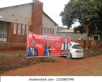 Harare,Zimbabwe,10 July 2018. An election  banner of  the  main  opposition MDC Alliance party in a  street.Zimbabwe is  going  into  the  elections without  Mugabe  for  the first time.