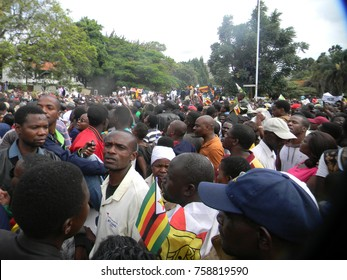 Harare,Zimbabwe,18 November 2017.Thousands  of anti -Mugabe  demonstrators marching in solidarity with   the  military intervention,