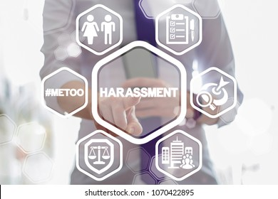 Harassment Female Safety Work Business Office concept. Woman Sexual Discrimination.