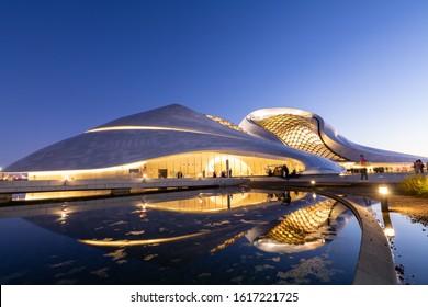Harbin, China - 14 September 2019: The Harbin Grand Theatre or Harbin Opera House is a multi-venue performing arts centre