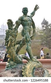 Harbin, China - April 28, 2018: Statue of Man slaying a dragon in China
