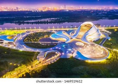 Harbin, China - August 3, 2019: Harbin Skyline. Harbin Grand Theatre and Songhua River. Located in Harbin, Heilongjiang, China.